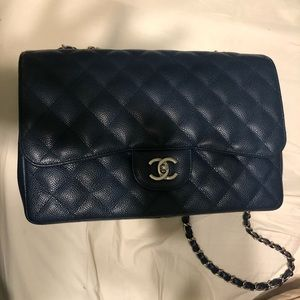 Chanel classic navy blue caviar